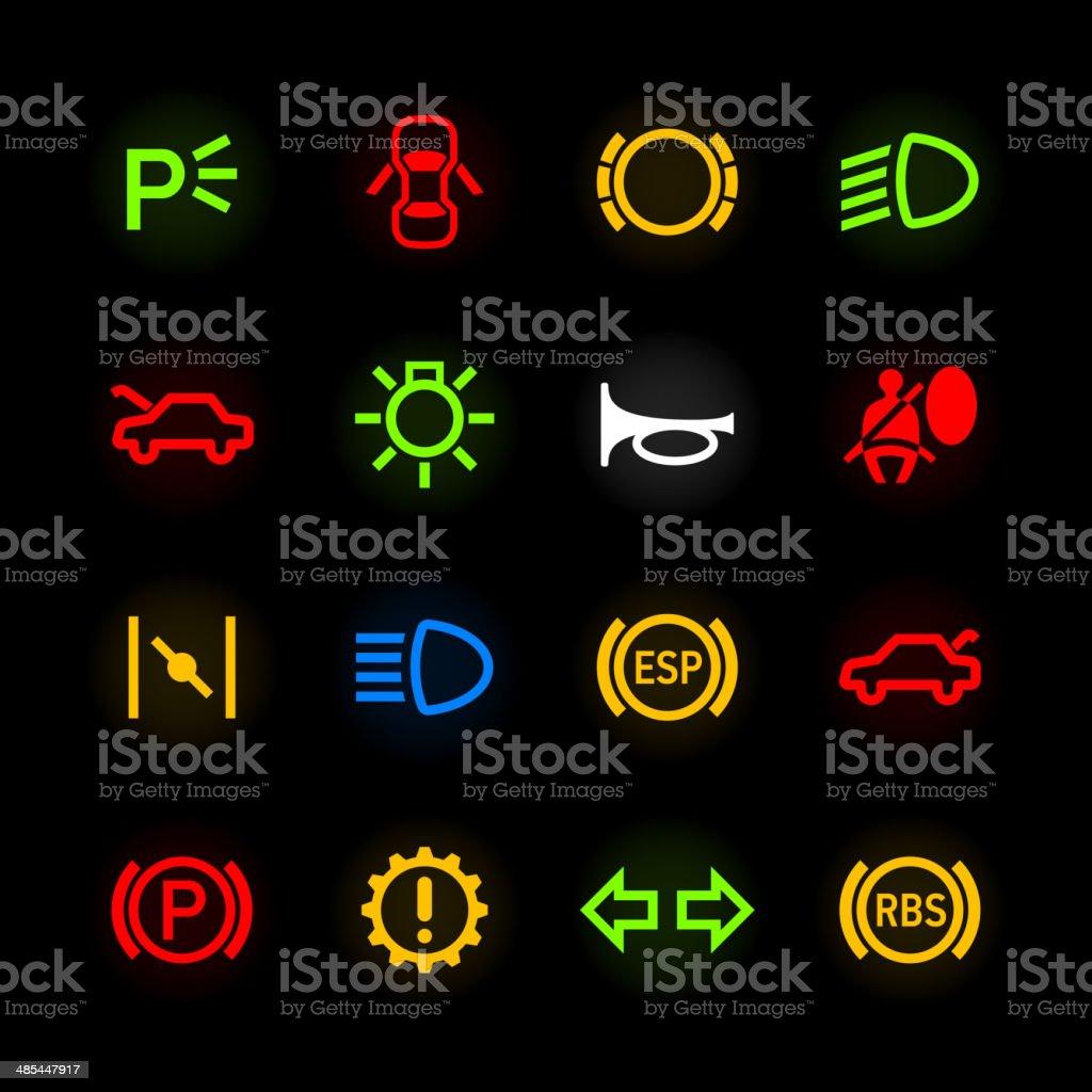 car dashboard icons stock vector art 485447917 istock