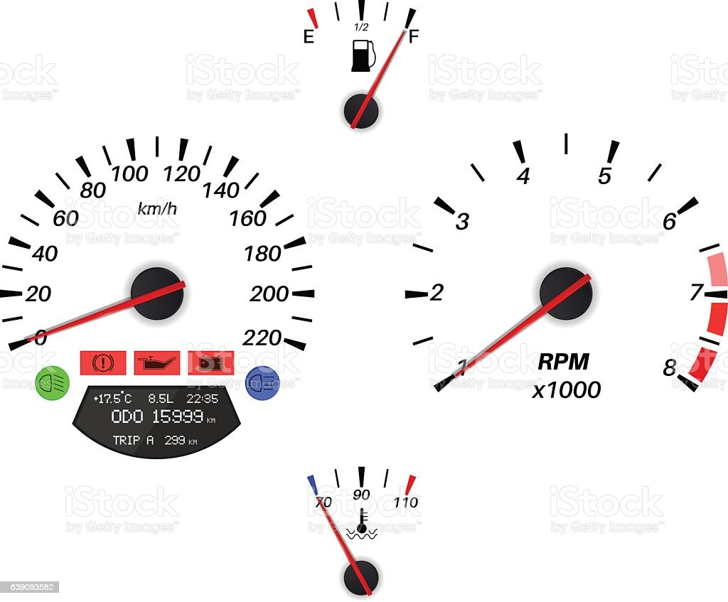 Car Dashboard Signs Speedometer Tachometer Fuel And Temperature - Car sign on dashboard