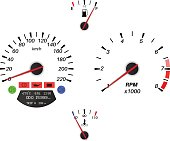 Car dashboard signs. Speedometer, tachometer, fuel and temperature gauge