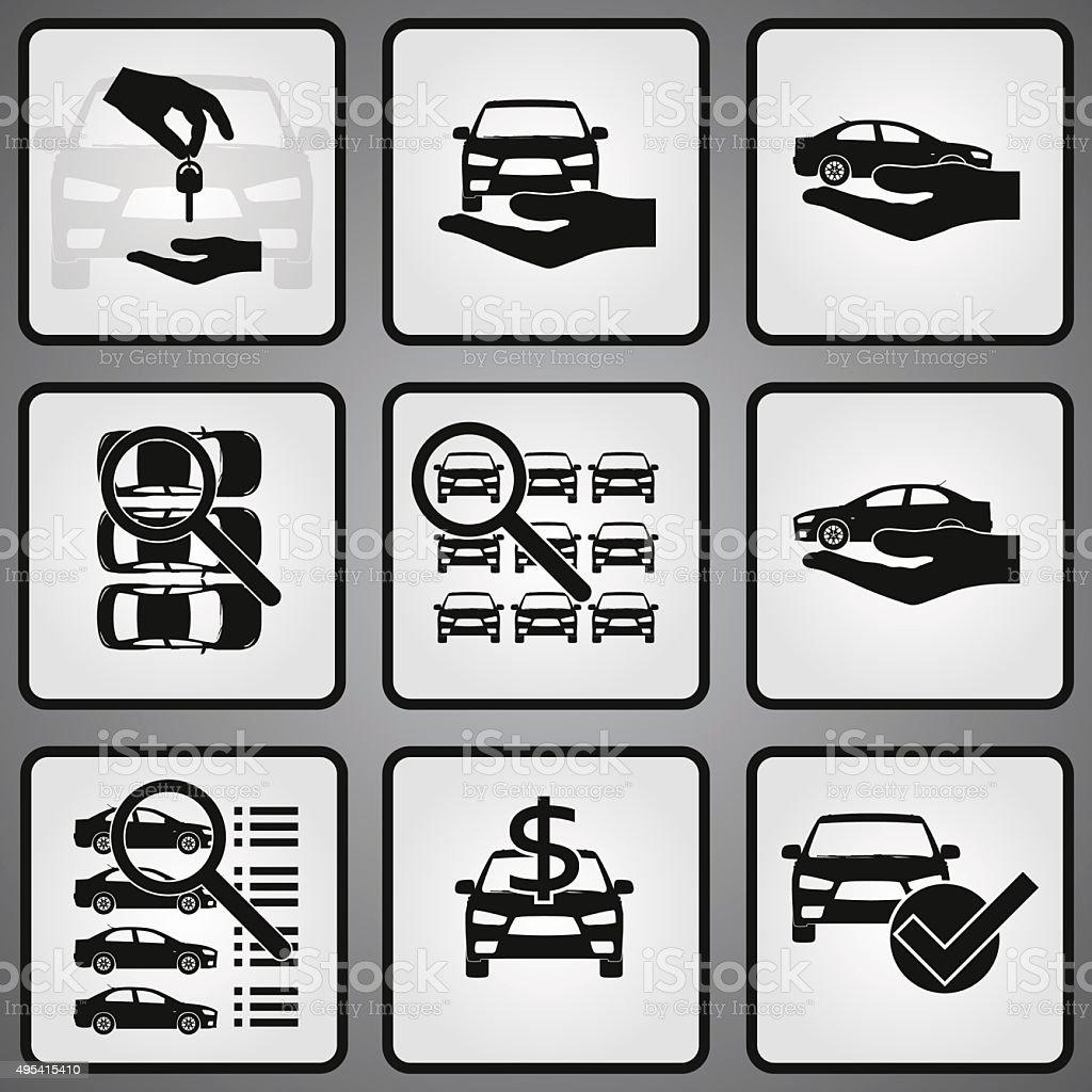 Car dealership 9 icons set vector art illustration
