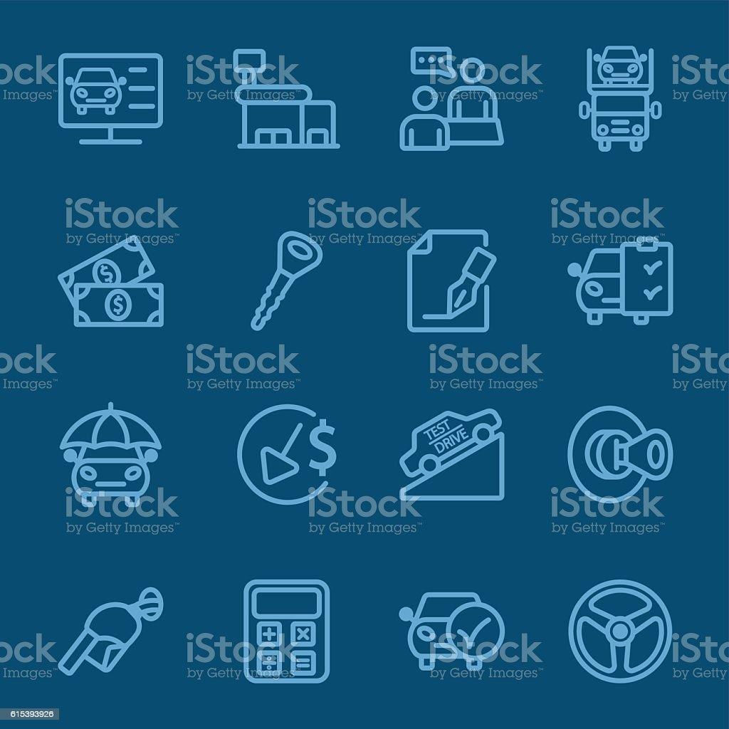 Car dealership blue line icon vector art illustration