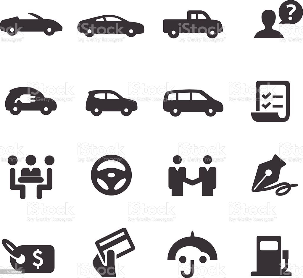Car Dealership Icons Set - Acme Series vector art illustration
