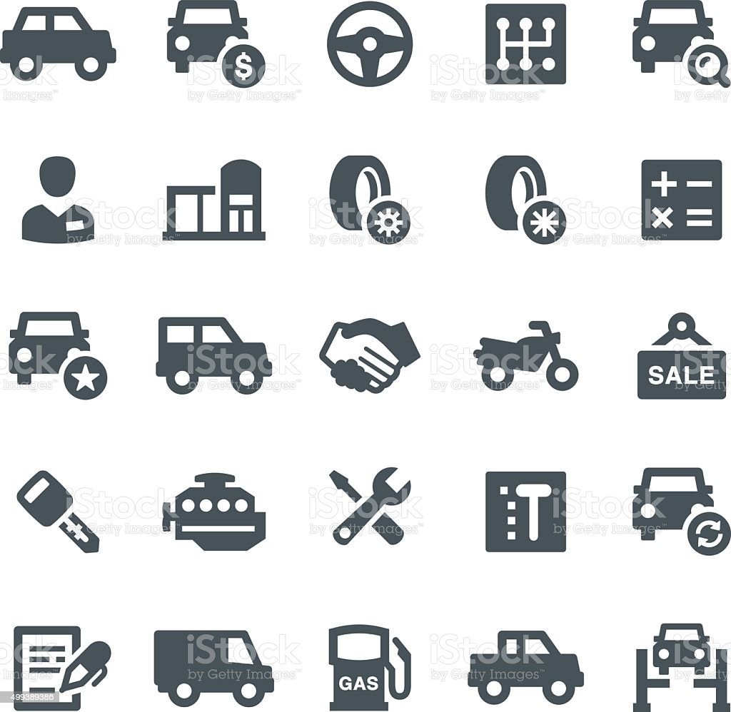 Car Dealership Icons vector art illustration