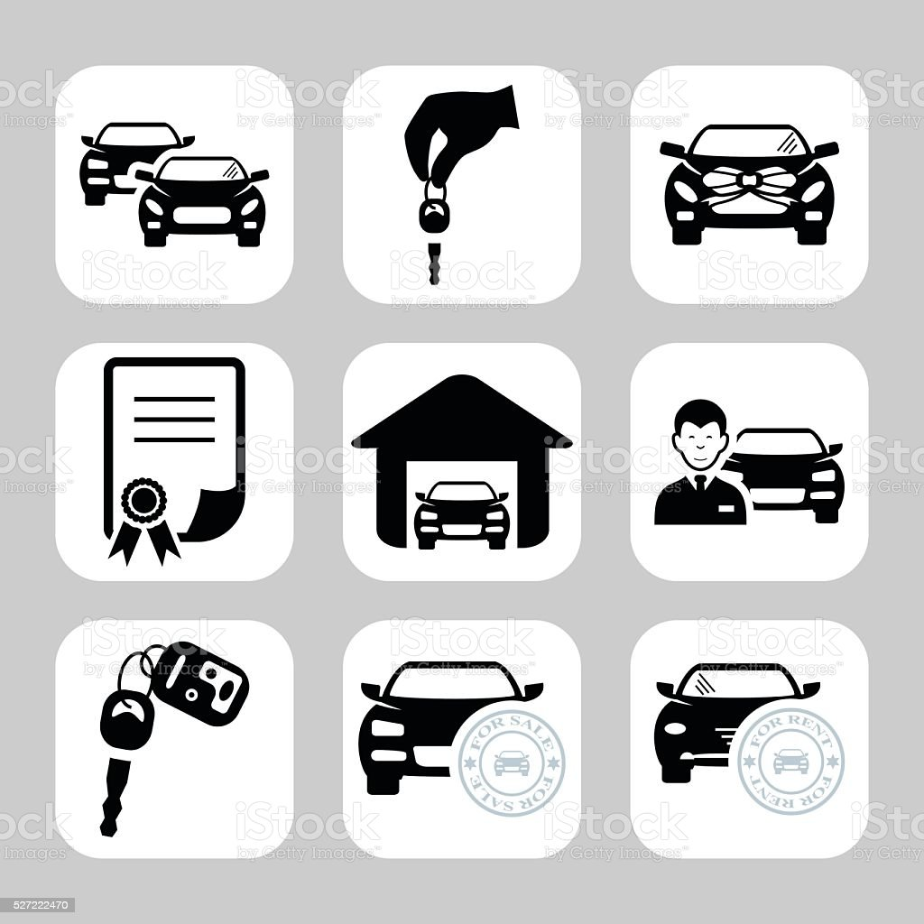 Car dealership icons. Vector symbols. Vector illustration vector art illustration