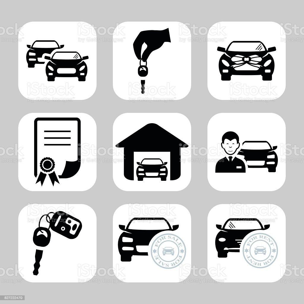 Car dealership icons. Vector symbols. Vector illustration vector art illustration