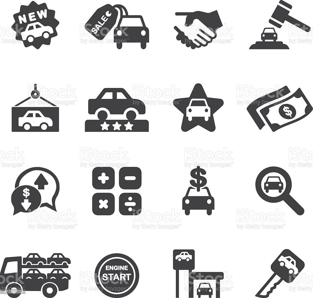 Car Dealership Silhouette icons| EPS10 vector art illustration