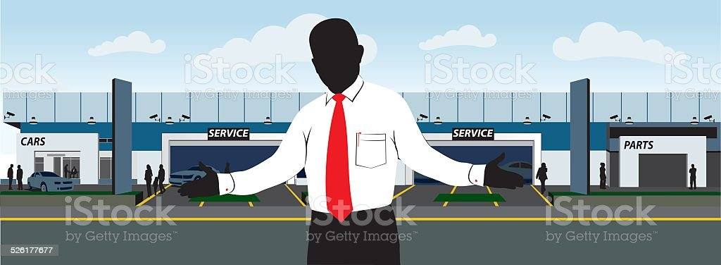Car dealership vector art illustration