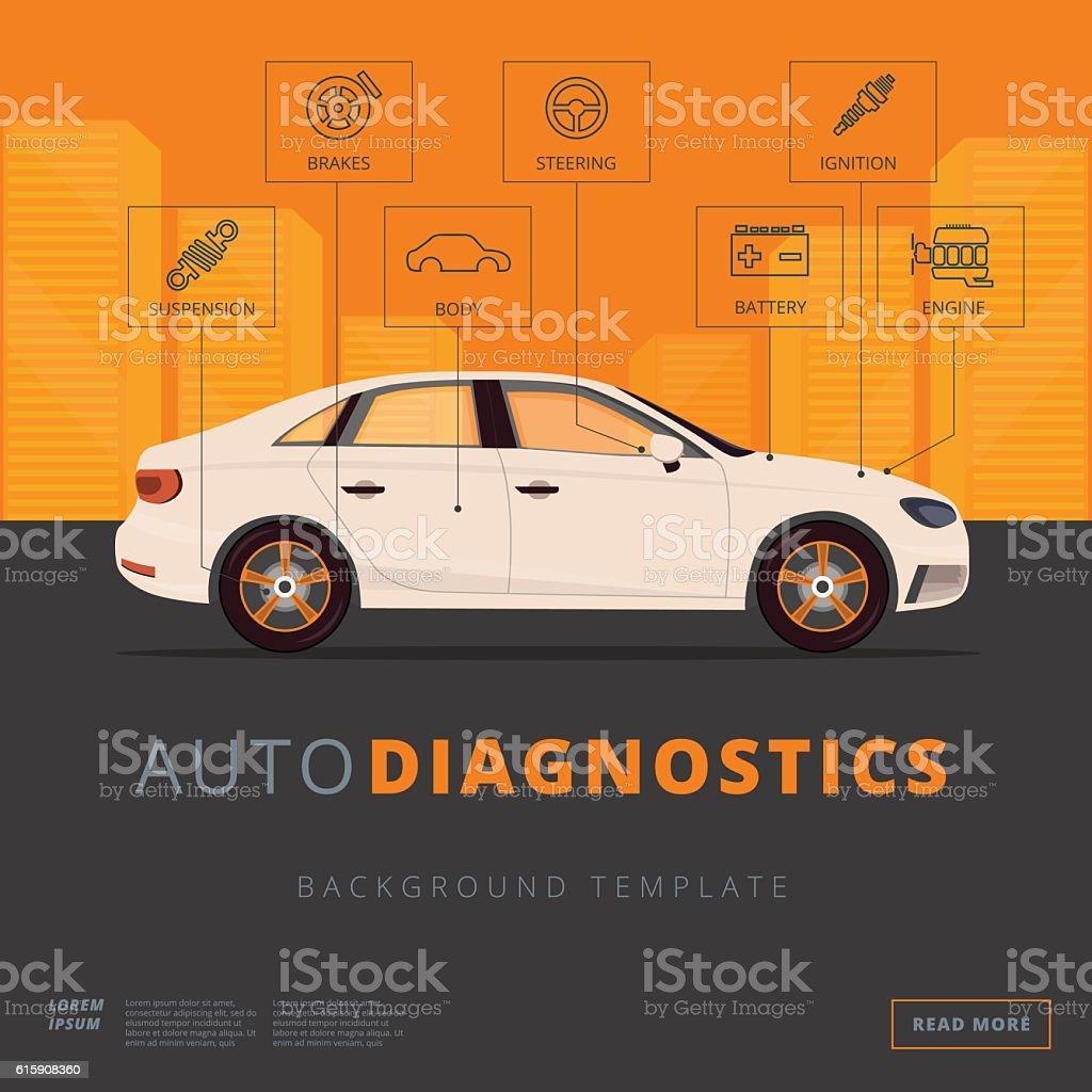 Car diagnostics background template. Auto inspection or garage vector art illustration