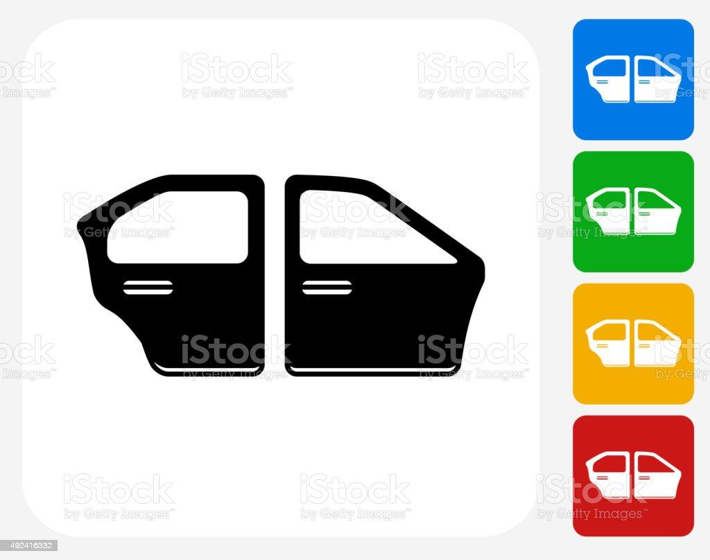 Car Doors Icon Flat Graphic Design vector art illustration