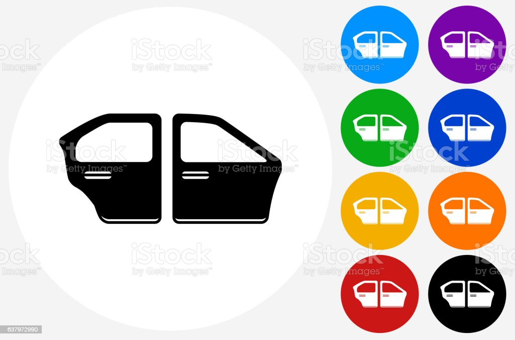 Car Doors Icon on Flat Color Circle Buttons vector art illustration