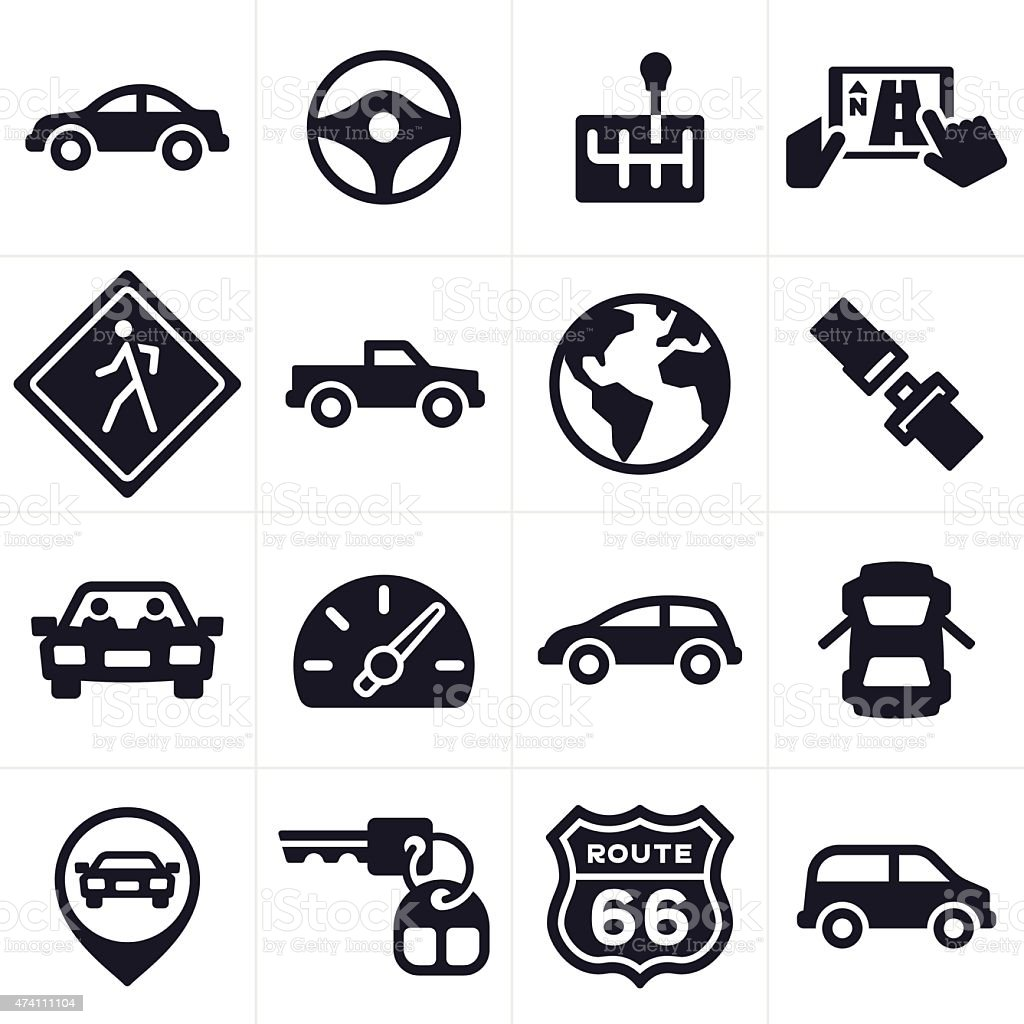 Car Driving and Vehicle Icons and Symbols vector art illustration