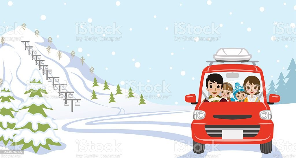 Car Driving in Winter nature, Young Family  - Front view vector art illustration