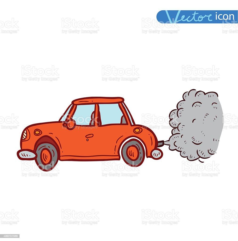 car emitting smoke, Vector vector art illustration