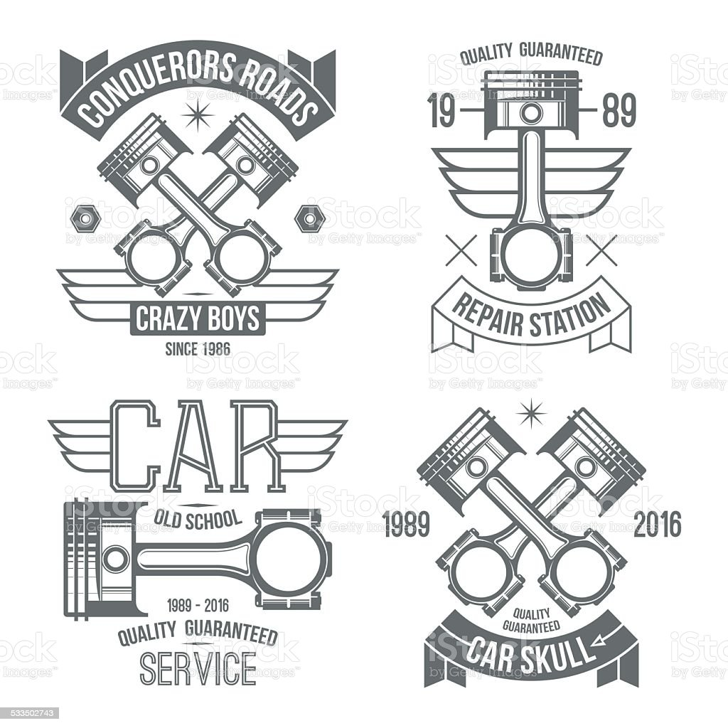 Car engine piston emblems vector art illustration