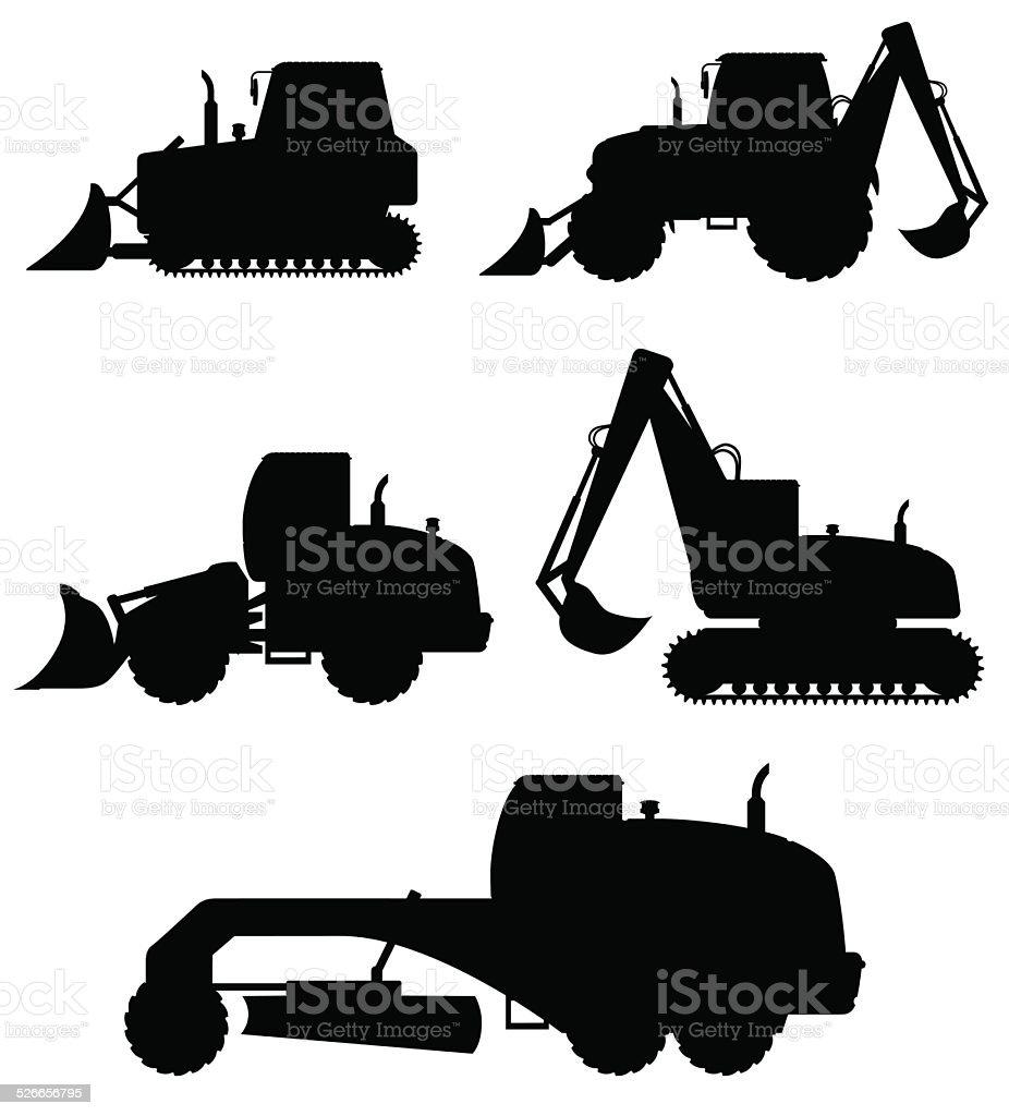 car equipment for construction work black silhouette vector illustration vector art illustration