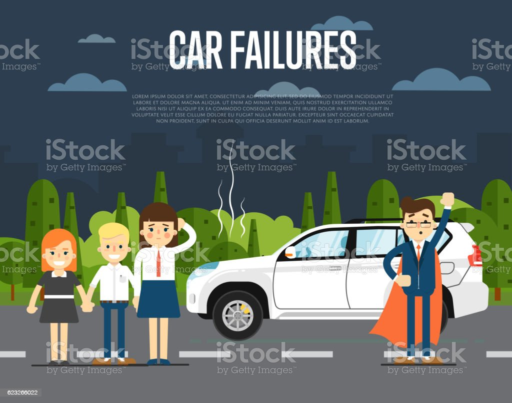 Car failures concept with people vector art illustration