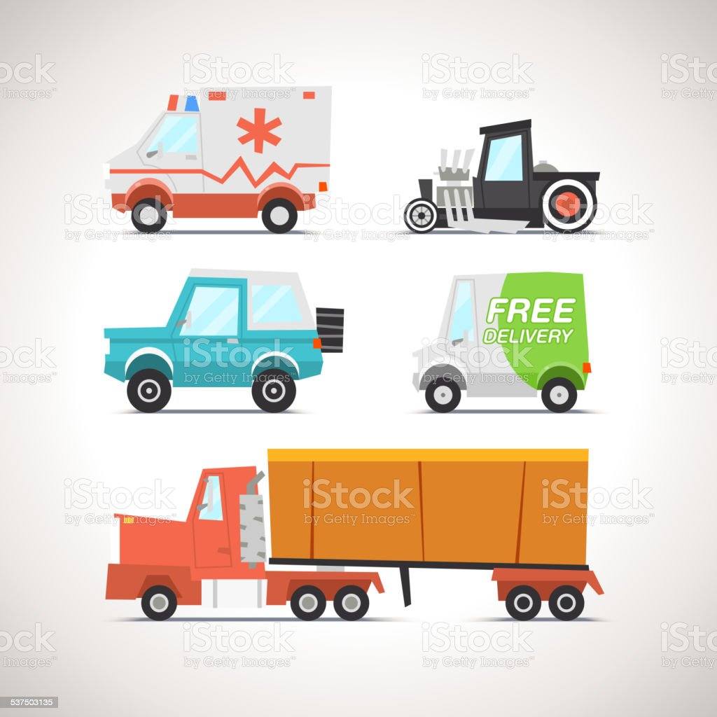 Car Flat Icon Set 3 vector art illustration