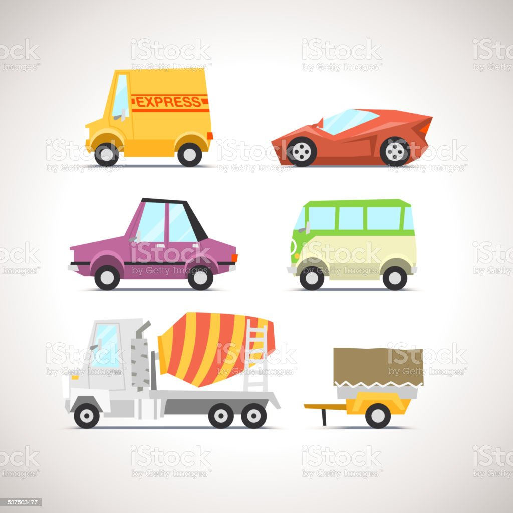 Car Flat Icon Set 5 vector art illustration