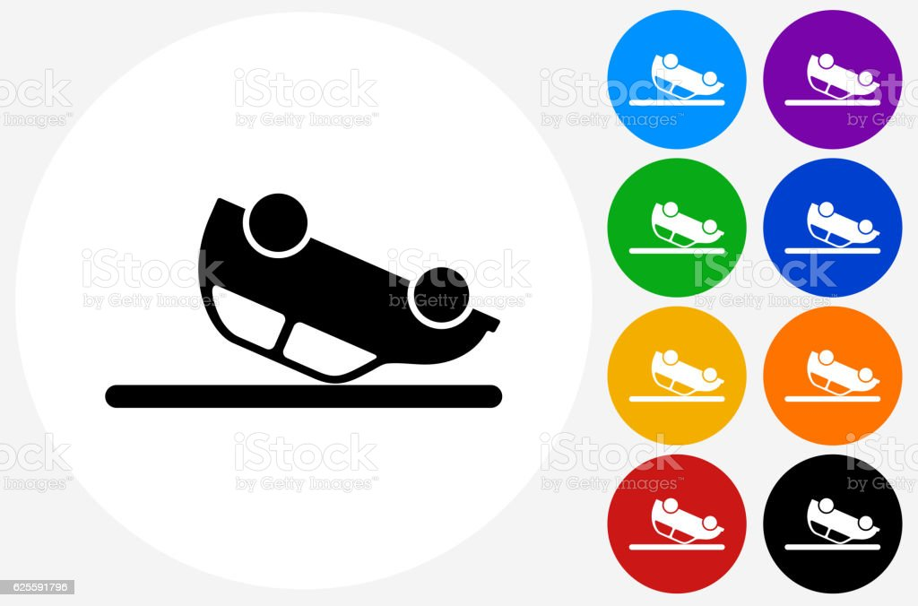 Car Flipped Upside Down Icon on Flat Color Circle Buttons vector art illustration