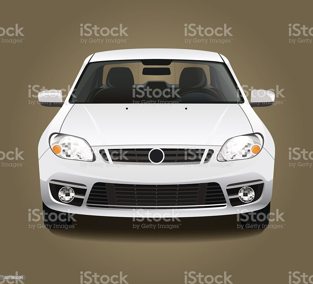 Car front view vector art illustration
