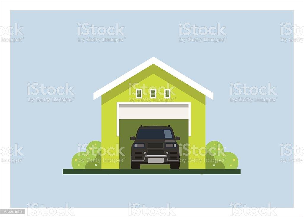 car garage simple flat illustration vector art illustration
