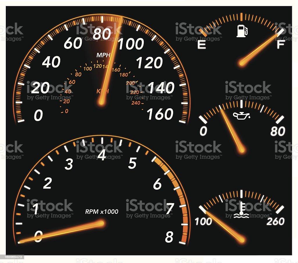 Car Gauges vector art illustration