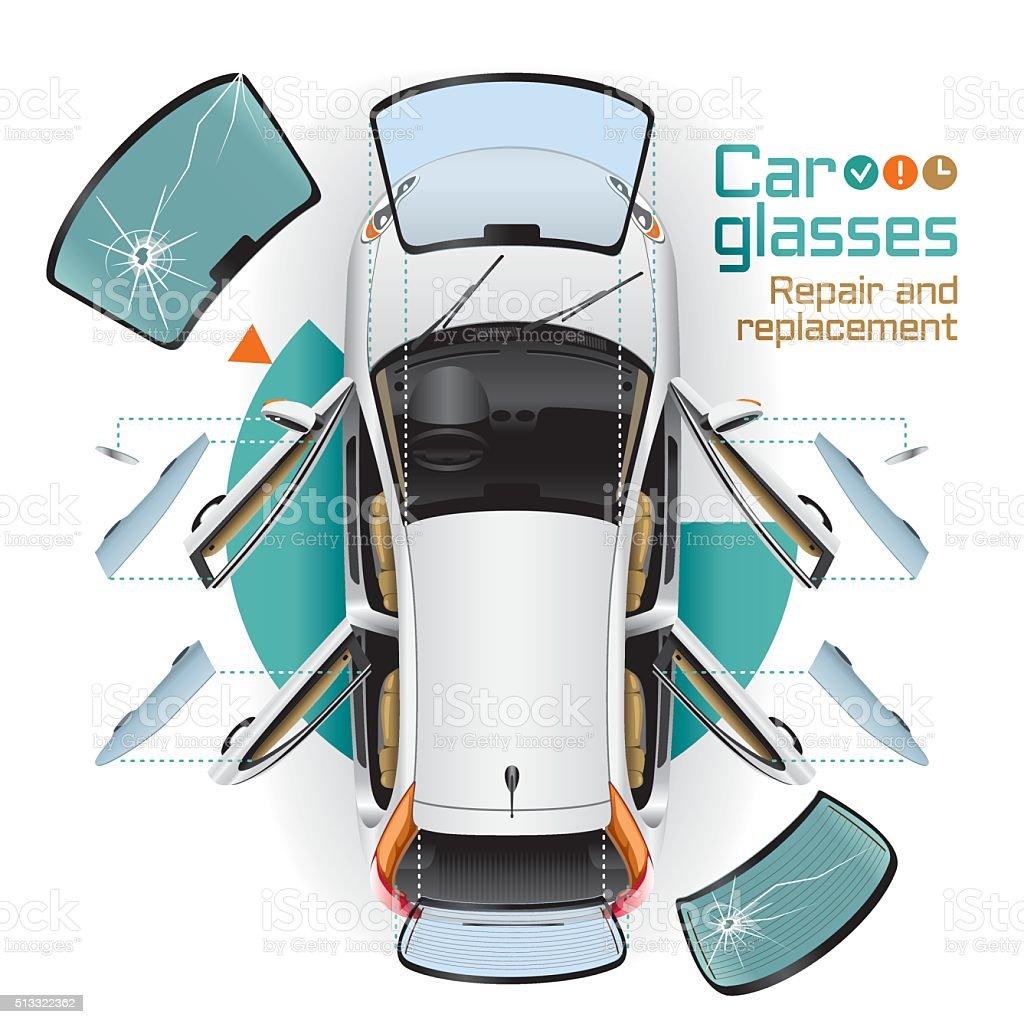 Car Glasses Repair and Replacement vector art illustration