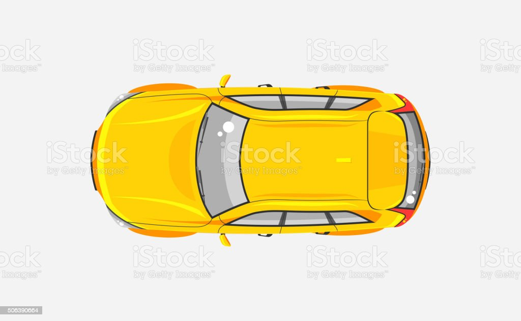 Car hatchback top view vector art illustration