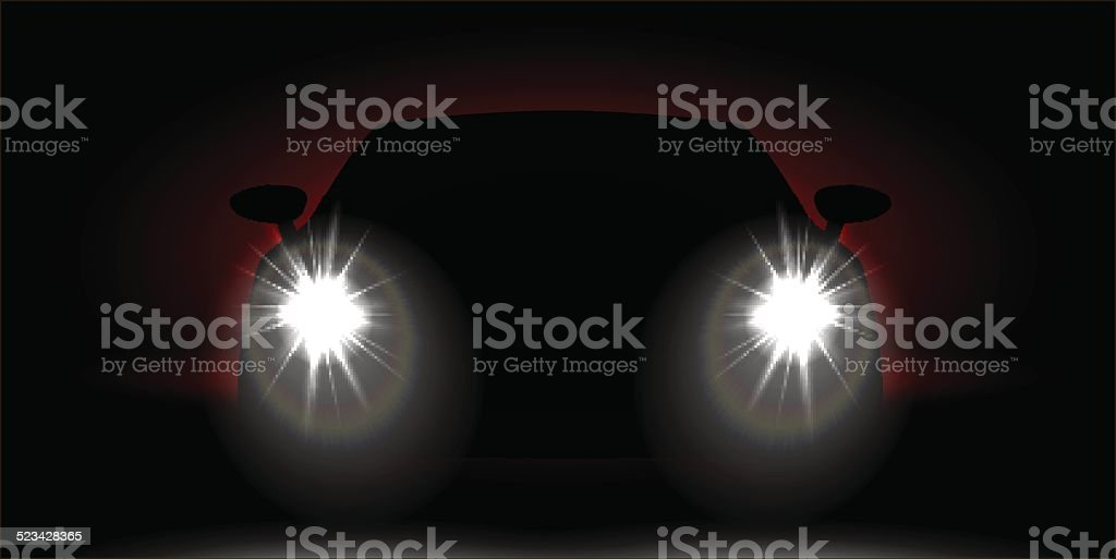 car headlights shining in the dark vector art illustration