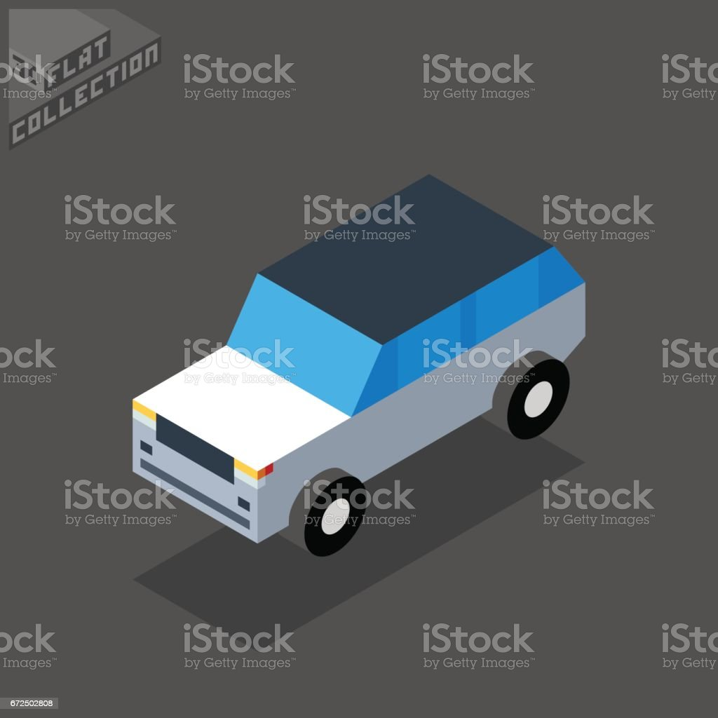 SUV Car Icon. 3D Isometric Low Poly Flat Design. vector art illustration