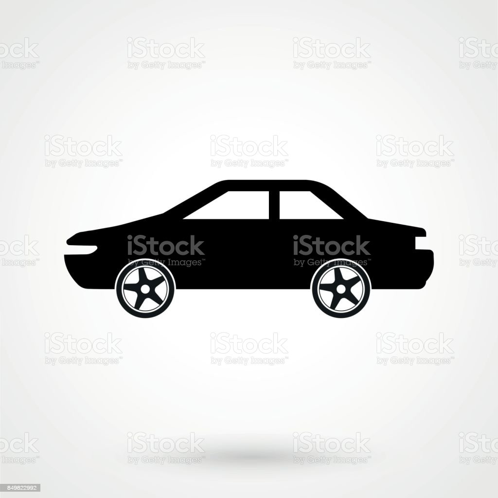 Car icon Vector Illustration. Side view of car, automobile, motor vehicle vector art illustration