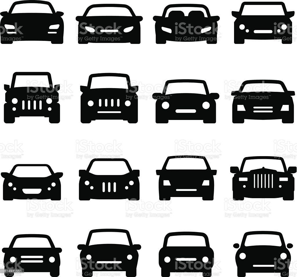 Car Icons - Front Views - Black Series vector art illustration