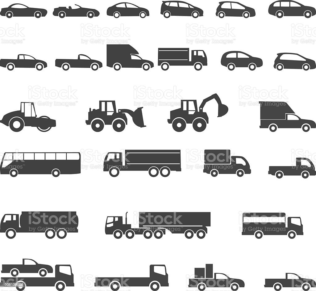 car icons mono symbol vector illustration vector art illustration