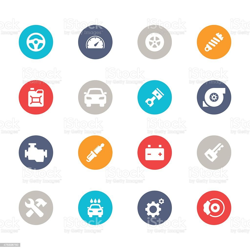 Car Icons | Multicolor Circle Series vector art illustration