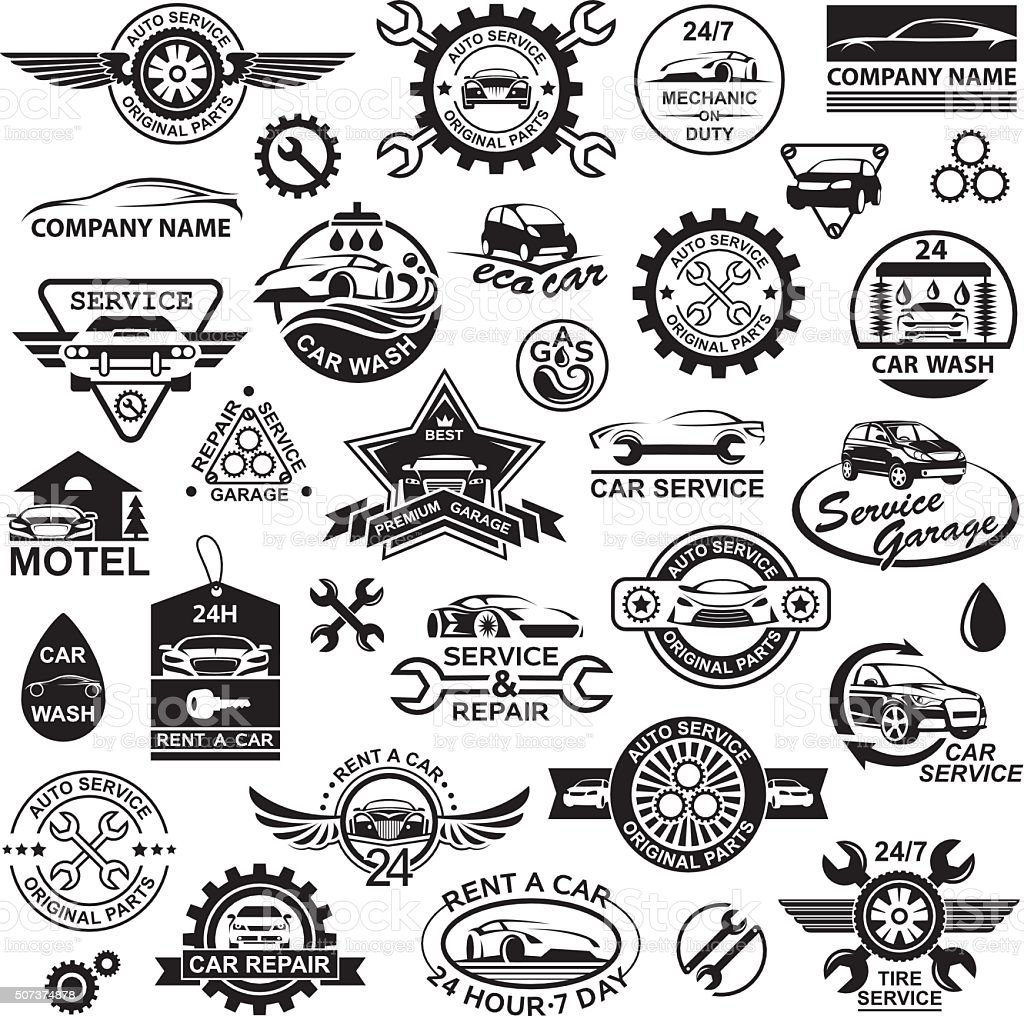 car icons set vector art illustration