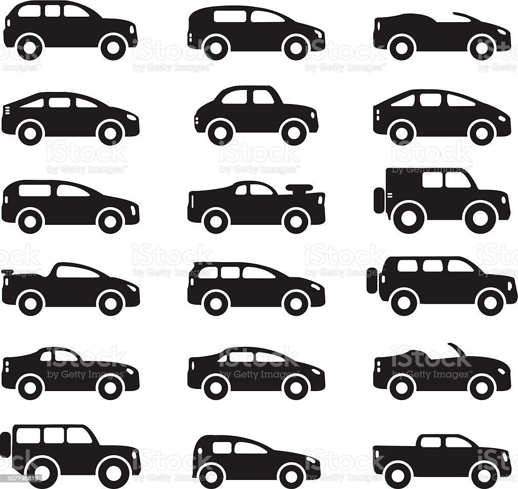 Car icons set vector art illustration