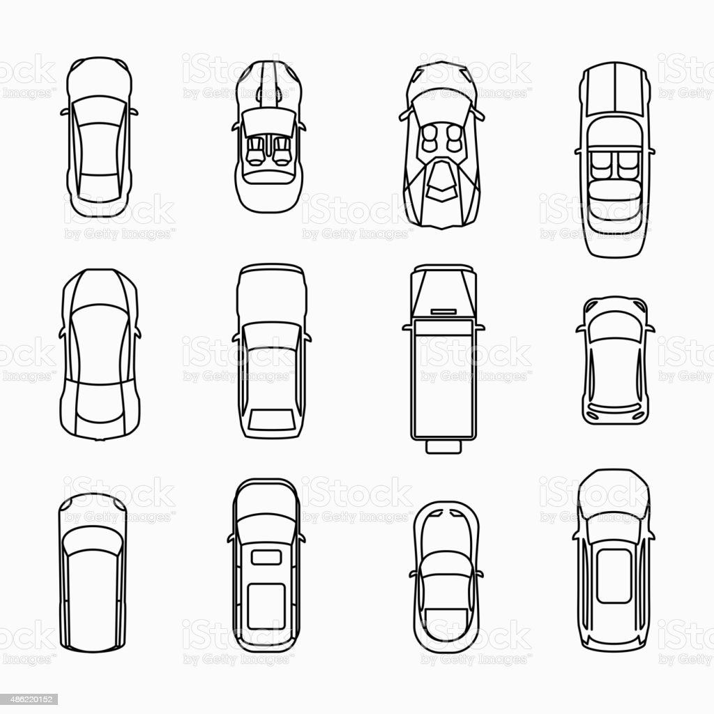 Car icons top view vector art illustration