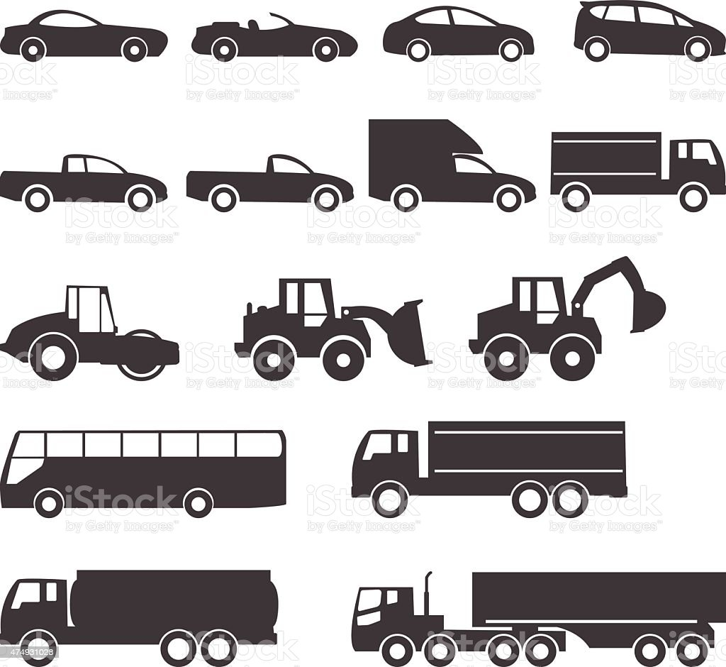 car icons vector art illustration
