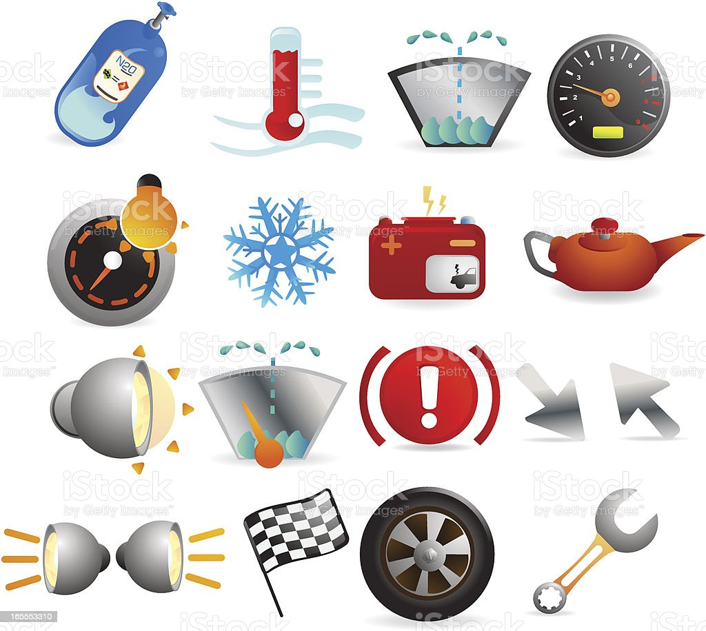 Car Indicator Icons royalty-free stock vector art