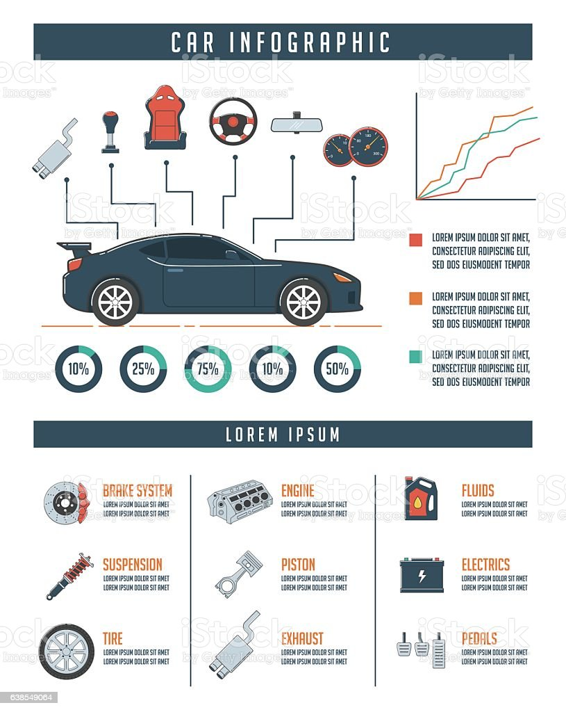 Car Infographic Template with Car Parts vector art illustration