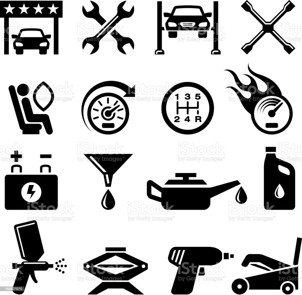Car Inspection and Repair black & white vector icon set royalty-free stock vector art