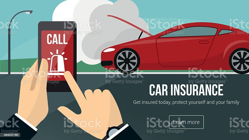 Car insurance and safety banner vector art illustration