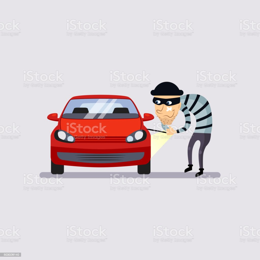 Car Insurance and Theft Vector Illustration vector art illustration