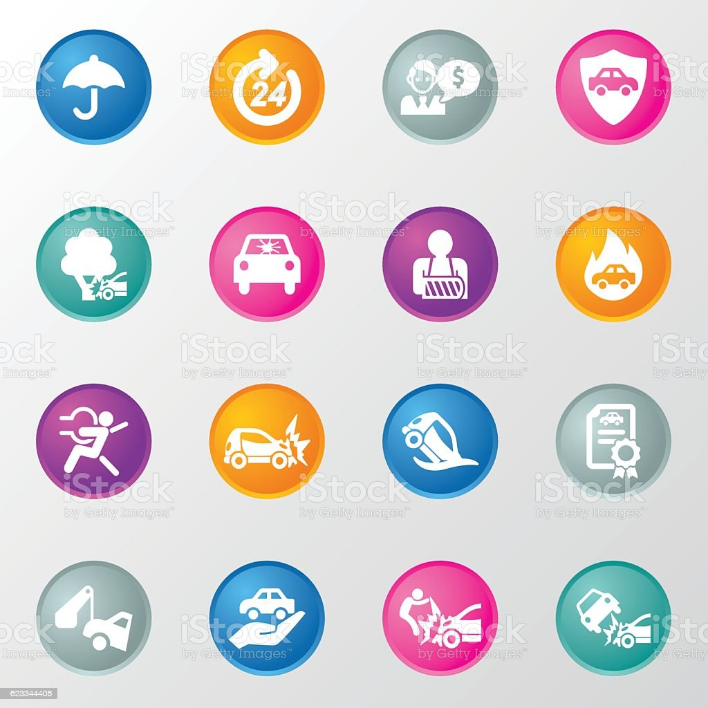 Car Insurance Circle Color Icons vector art illustration