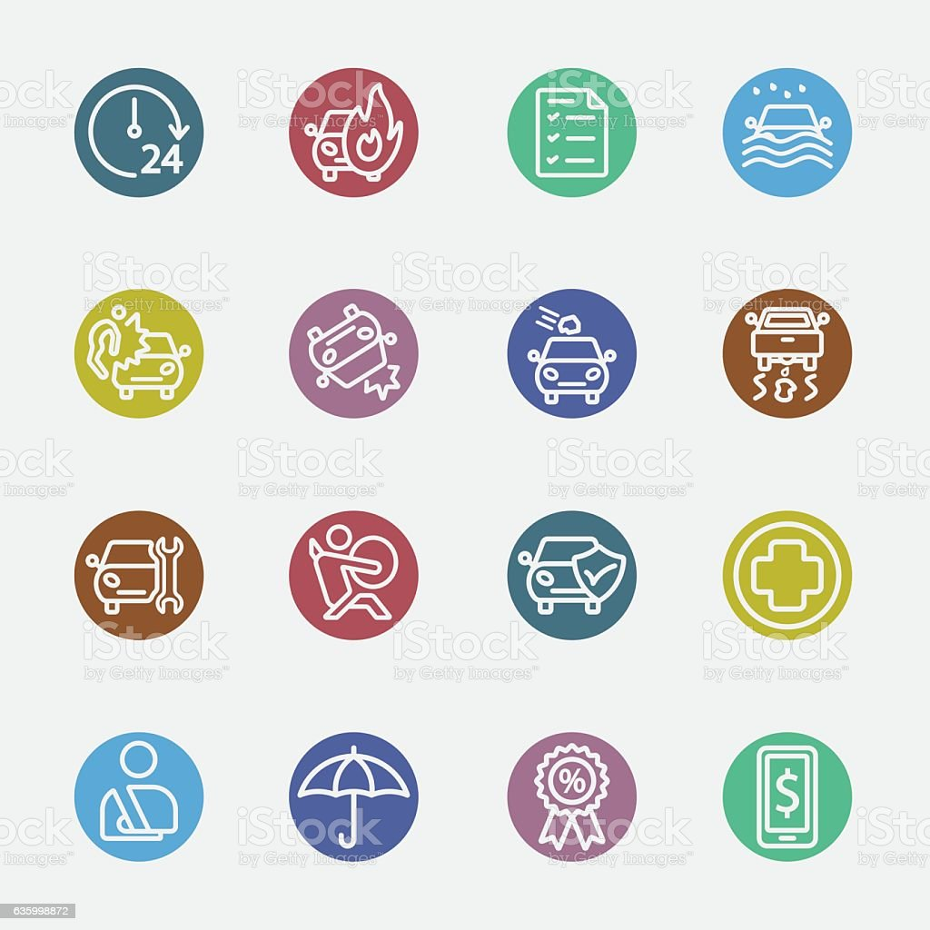 Car insurance color circles line icon vector art illustration