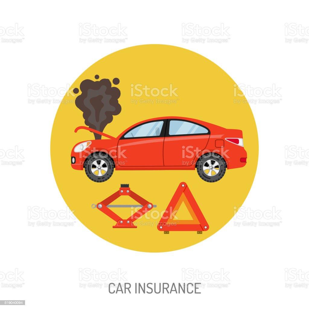 Car Insurance Flat Icon vector art illustration