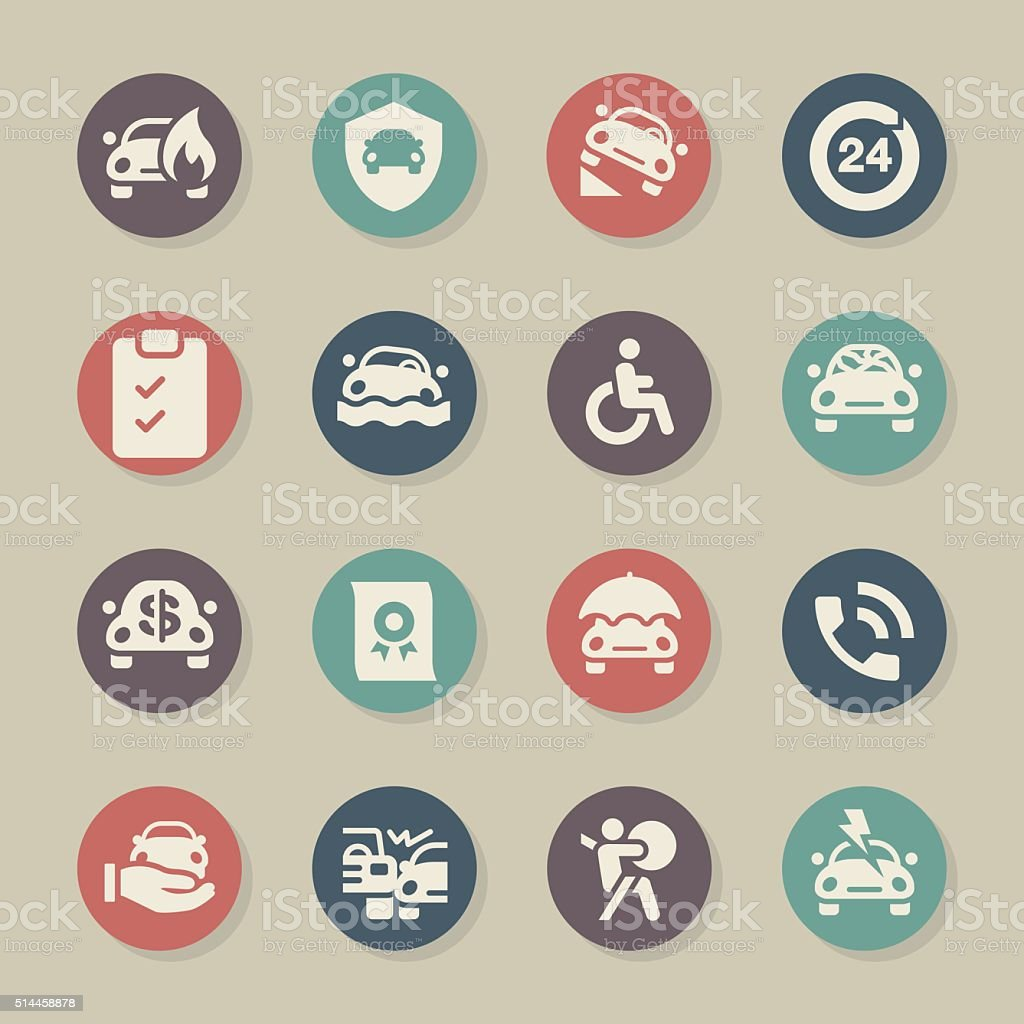 Car Insurance Icon - Color Circle Series vector art illustration