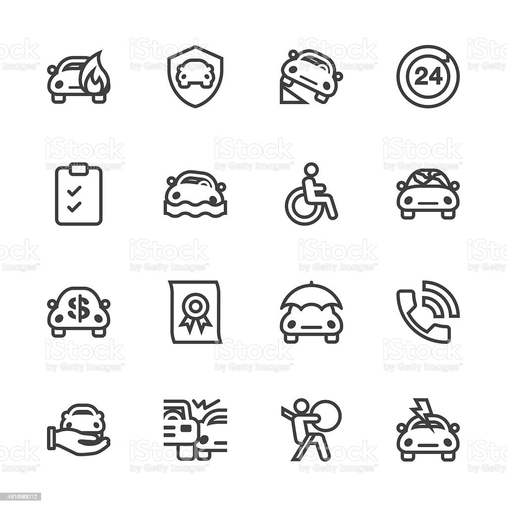 Car Insurance Icon - Line Series vector art illustration