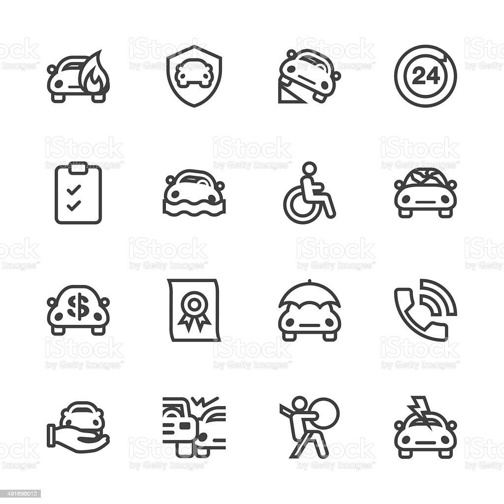 Car Insurance Icon - Line Series vector art illustration