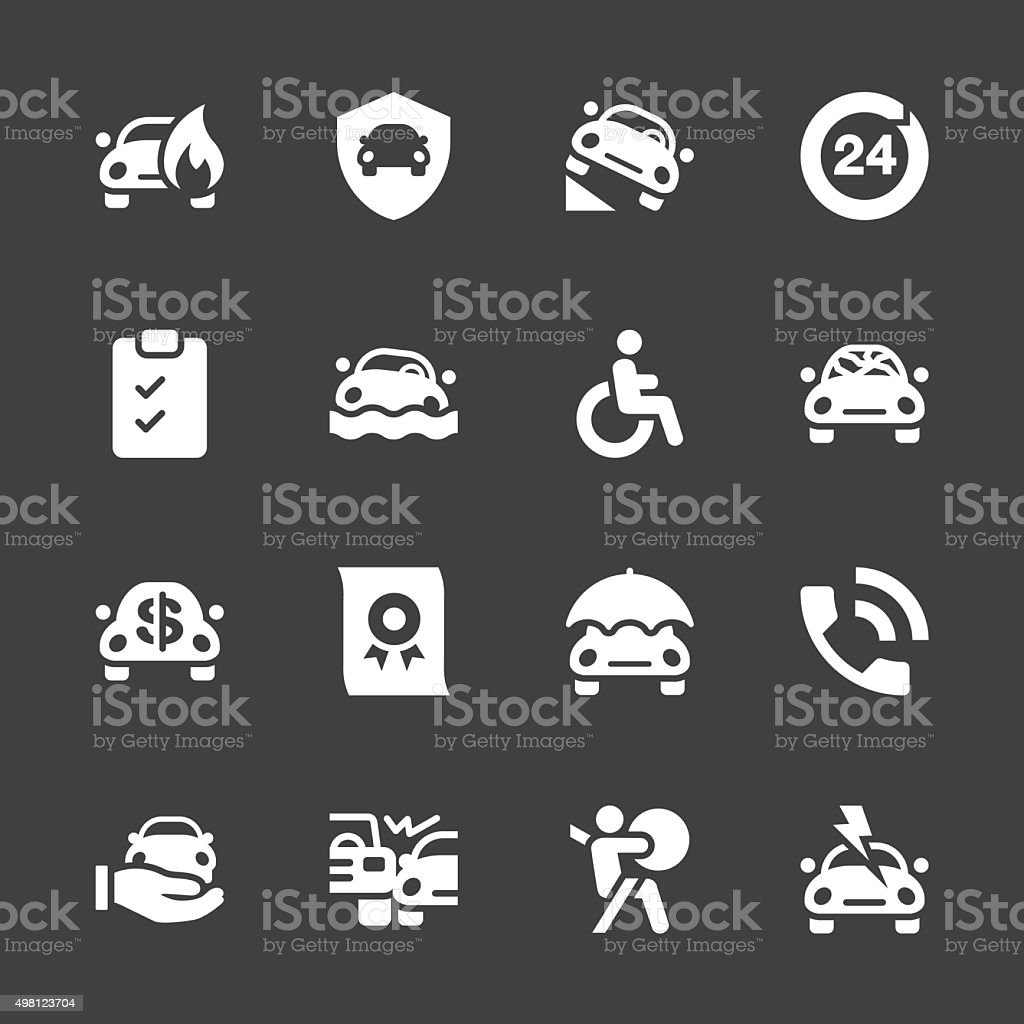 Car Insurance Icon - White Series vector art illustration